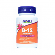 Витамин B12  NOW B-12 5000mcg+Folic   (60t.)